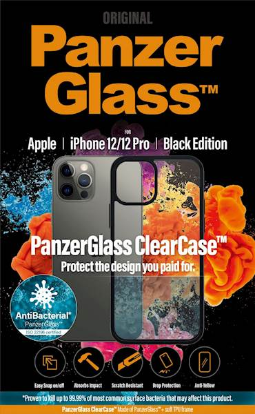 PANZERGLASS CLEAR CASE IPHONE 12/12 PRO AB BLACK